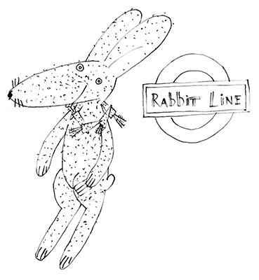 rabbit by train