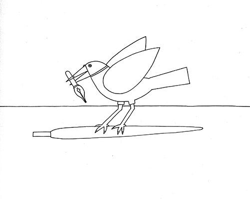 bird and pen